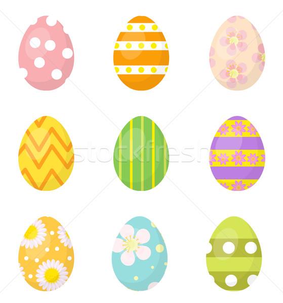 Stok fotoğraf: Paskalya · yumurtası · ayarlamak · simgeler · dizayn · elemanları · yalıtılmış