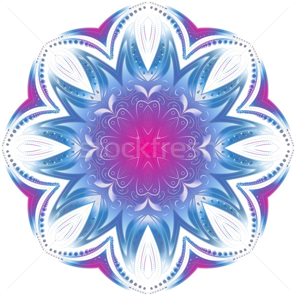 Geometric circle element. Mandala for decoration holiday cards, background and sites. Purple neon ma Stock photo © lucia_fox