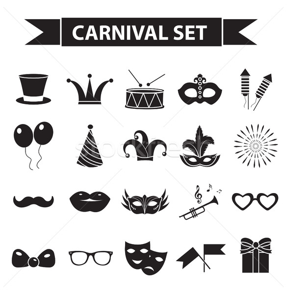 Carnival icon set, black silhouette style. Party, masquerade collection signs, symbols, isolated on  Stock photo © lucia_fox