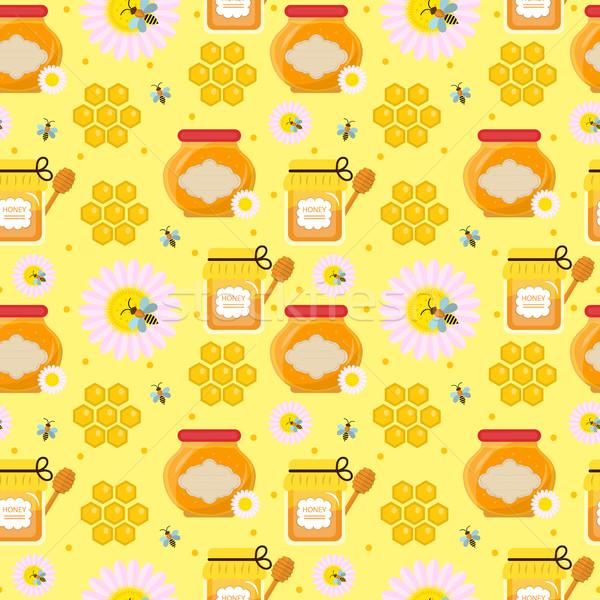 Honey seamless pattern. Beekeeping endless background, texture. Vector illustration. Stock photo © lucia_fox