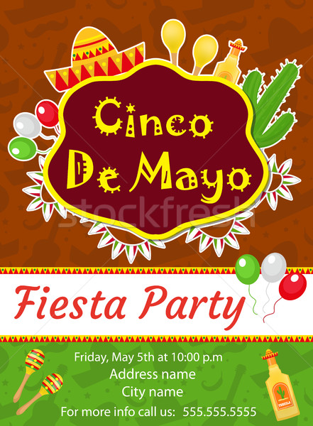 Cinco de Mayo invitation template, flyer. Mexican holiday postcard. Vector illustration. Stock photo © lucia_fox