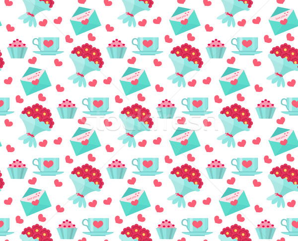 Cute seamless pattern Valentines day with coffee and cake, heart, bunch of flowers, love letter, rom Stock photo © lucia_fox