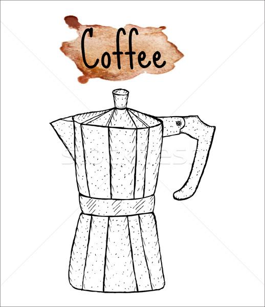 Café géiser esboço aquarela textura Foto stock © lucia_fox