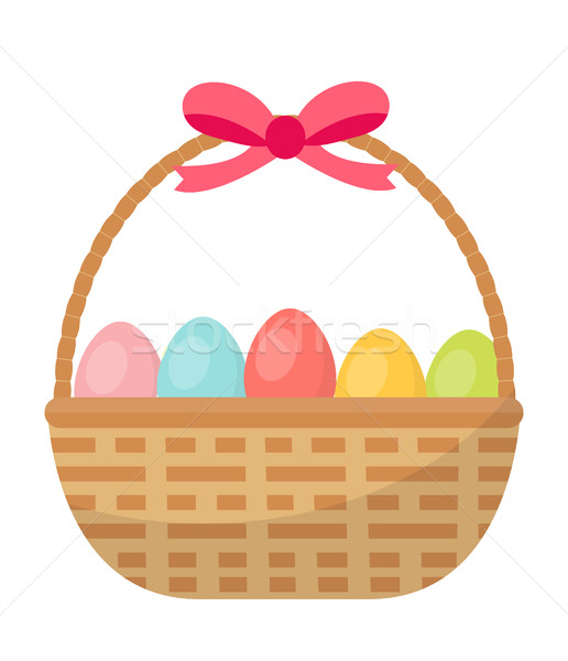 Basket with painted eggs. Easter basket icon, flat style. Isolated on white background. Vector illus Stock photo © lucia_fox