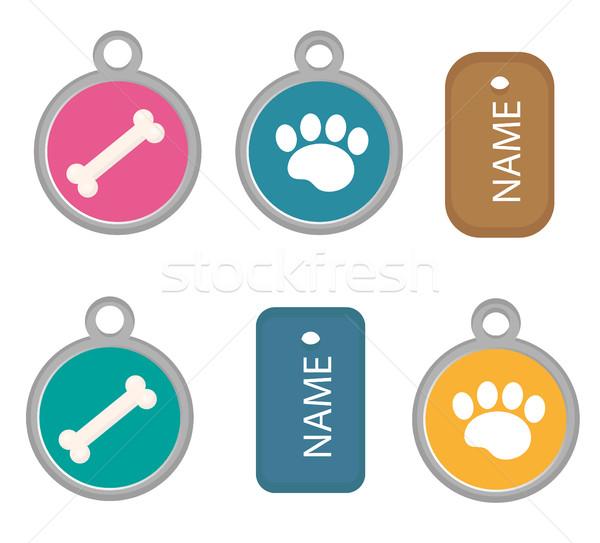 Stock fotó: Medál · kutya · címke · szett · ikonok · rajz