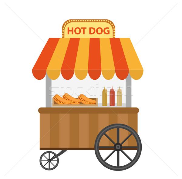 Sosisli sandviç sokak alışveriş araba ikon karikatür Stok fotoğraf © lucia_fox