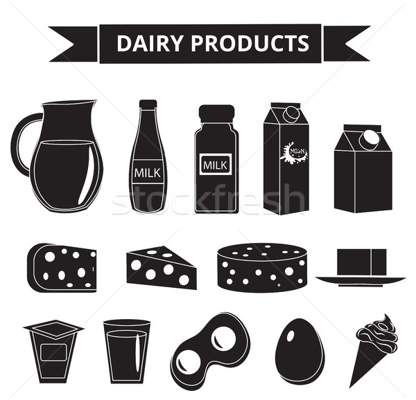 Dairy products icon set silhouette style. Milk  isolated on white background.  and Cheese collection Stock photo © lucia_fox