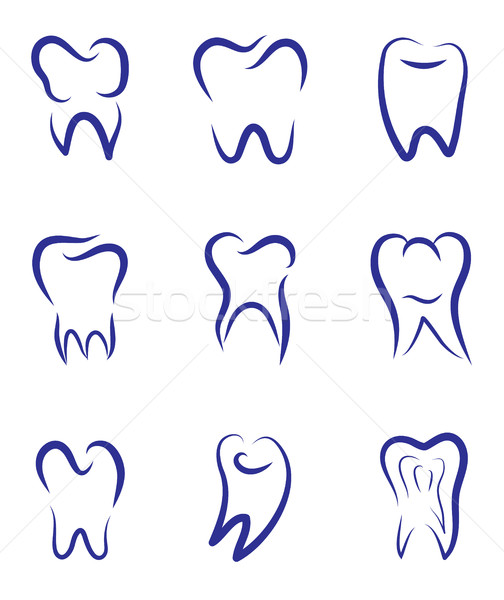 Set modern vector logo for dentistry. Logo for dental clinic. Teeth abstract sketch silhouette. Heal Stock photo © lucia_fox