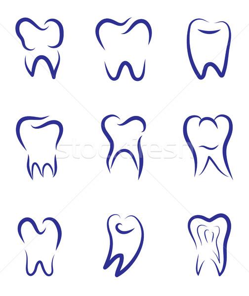 Stock foto: Set · modernen · Vektor · logo · Zahnmedizin · zahnärztliche