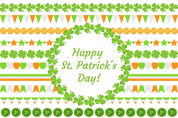 St. Patrick's Day border garland with clover, shamrock, flags, bunting. Isolated on white background Stock photo © lucia_fox