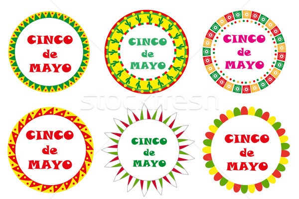 Cinco de Mayo set of round frames with space for text. Isolated on white background. Vector illustra Stock photo © lucia_fox