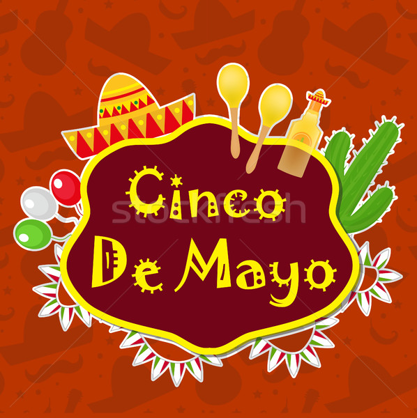 Cinco de Mayo greeting card, template for flyer, poster, invitation. Mexican celebration with tradit Stock photo © lucia_fox
