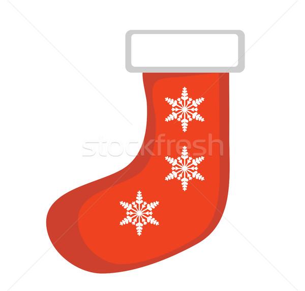 Noel çorap vektör ikon yalıtılmış beyaz Stok fotoğraf © lucia_fox