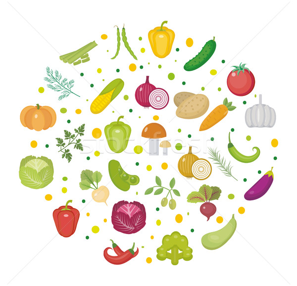 Vegetables icon set in a round shape. Flat style. Isolated on white background. Healthy lifestyle, v Stock photo © lucia_fox