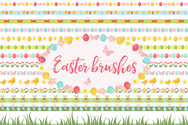 Easter borders, ornament, garland set. Banner with grass, eggs, flowers and other elements. Vector i Stock photo © lucia_fox