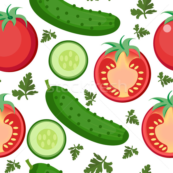 Salad seamless pattern. Tomato and cucumber endless background, texture. Vegetable backdrop. Vector  Stock photo © lucia_fox