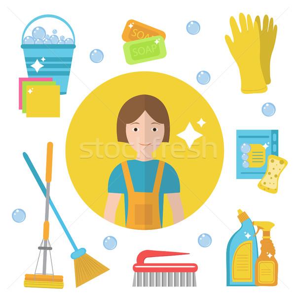 Conjunto ícones limpeza ferramentas casa pessoal Foto stock © lucia_fox