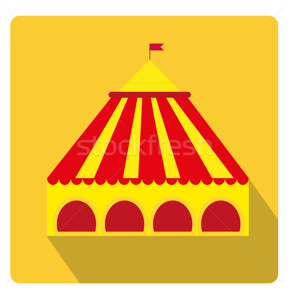 Circus pavilion, yellow tent icon flat style with long shadows, isolated on white background. Vector Stock photo © lucia_fox