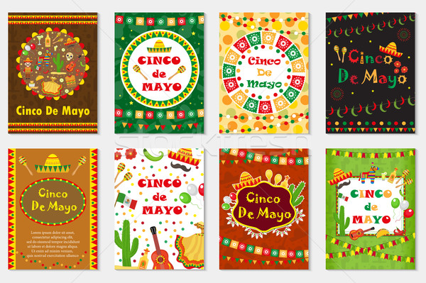 Cinco de Mayo set greeting card, template for flyer, poster, invitation. Mexican celebration with tr Stock photo © lucia_fox