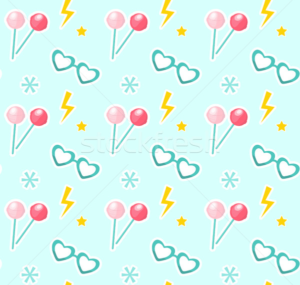 Candy on sticks, glasses in the shape of heart seamless pattern. Fashionable modern endless backgrou Stock photo © lucia_fox