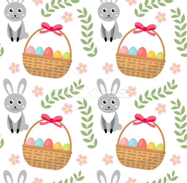 Húsvét végtelen minta tojások kosár nyúl végtelen Stock fotó © lucia_fox