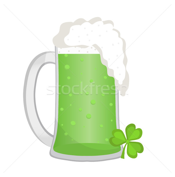 Green beer, icon flat style. St. Patrick's Day symbol. Isolated on white background. Vector illustra Stock photo © lucia_fox
