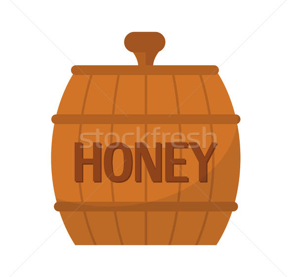 Barrel of honey icon, flat style. Isolated on white background. Vector illustration, clip-art. Stock photo © lucia_fox