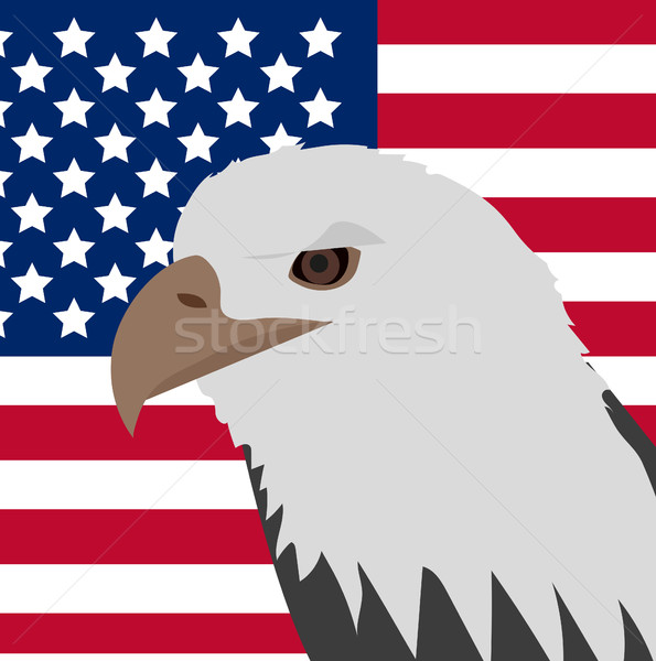 Eagle on the background of the American flag icon, flat style. 4th july concept. Vector illustration Stock photo © lucia_fox