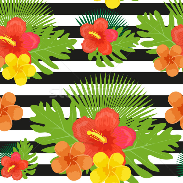Tropical flowers, plants, leaves and black and white stripes seamless pattern. Endless summer floral Stock photo © lucia_fox