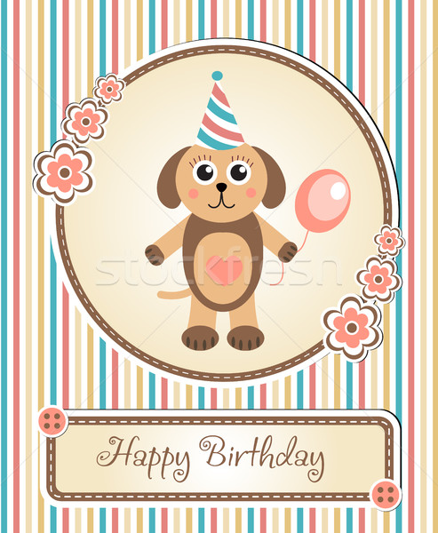 greeting template cute children s birthday party, cartoon dog puppy Stock photo © lucia_fox