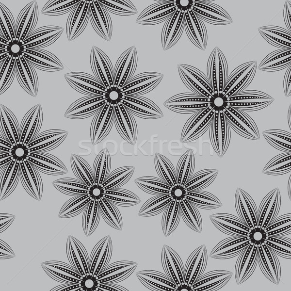 Floral seamless pattern , in the style of hand drawing. Black and white flowers. Vector illustration Stock photo © lucia_fox