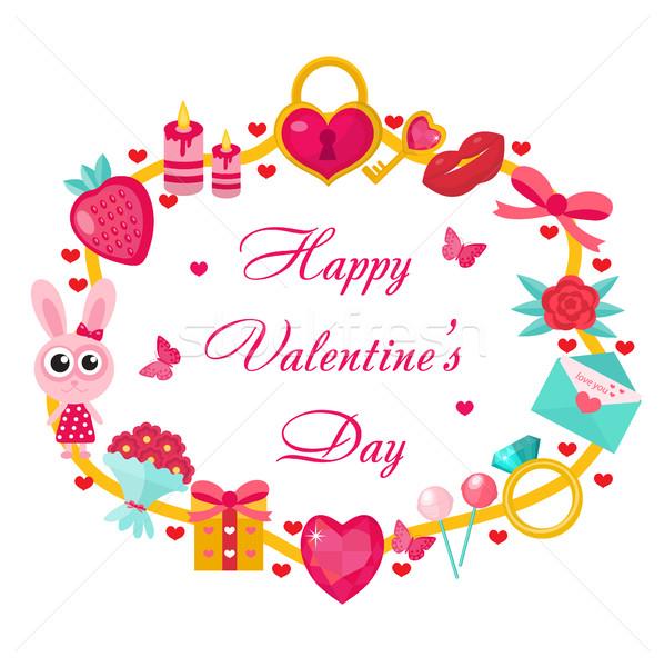 Valentijnsdag sjabloon kaarten posters folders liefde Stockfoto © lucia_fox