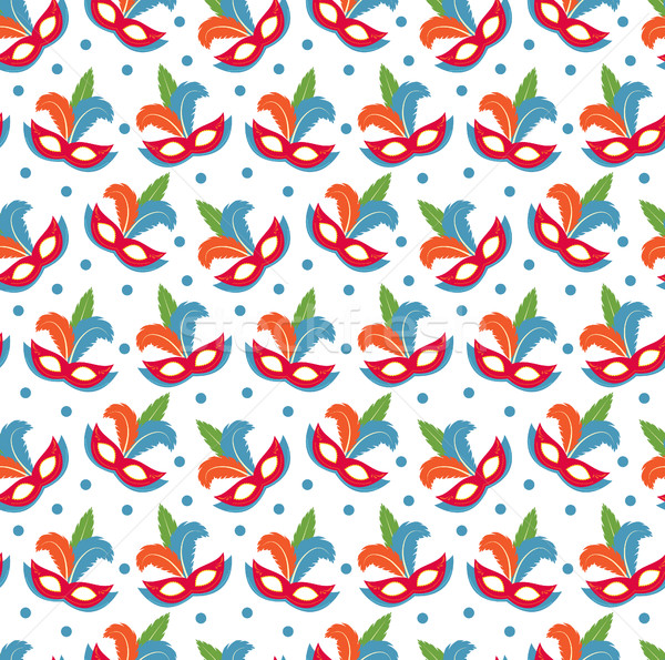 Carnival mask seamless pattern. Masquerade endless background, texture, wallpaper. Vector illustrati Stock photo © lucia_fox