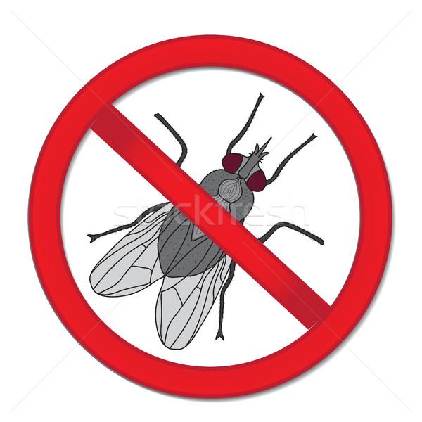 ストックフォト: 赤 · にログイン · 禁止 · フライ · 一時停止の標識 · 昆虫