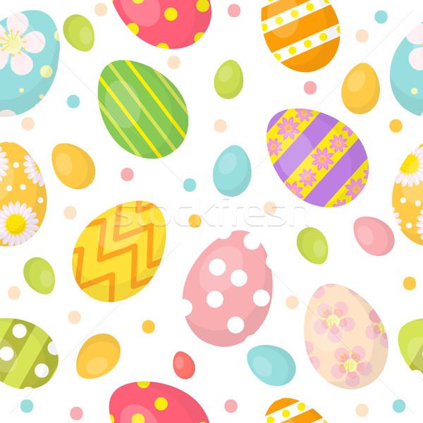 пасхальных яиц Cute бесконечный фон красочный Сток-фото © lucia_fox