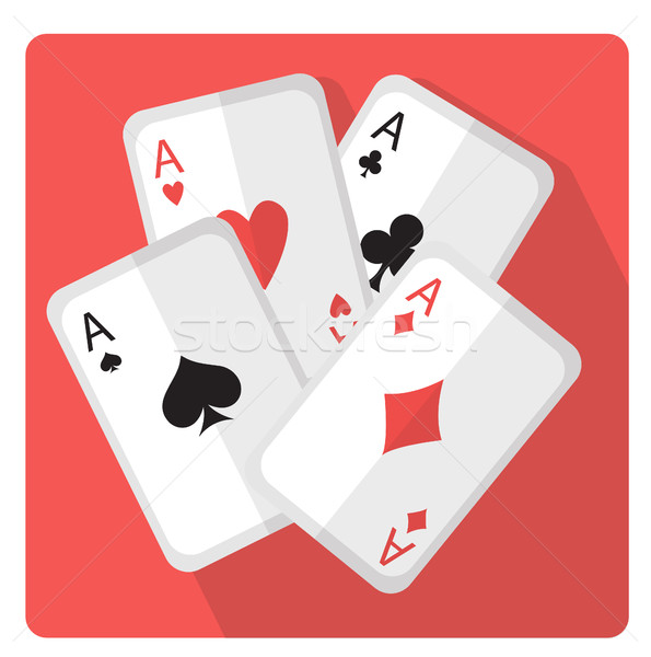 Stock photo: Playing cards with aces icon flat style with long shadows, isolated on white background. Vector illu