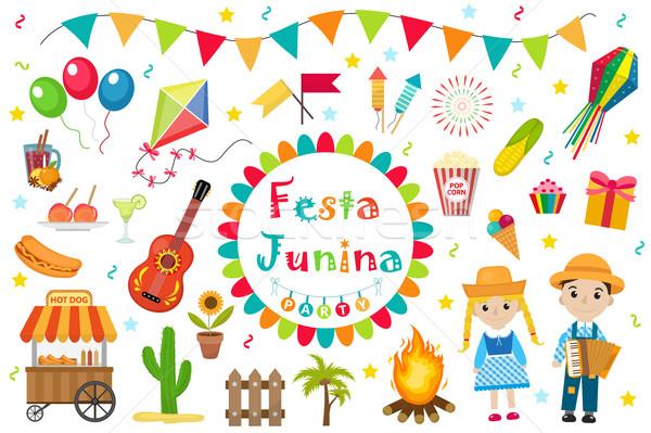 Festa Junina set icons, flat style. Brazilian Latin American festival, celebration of traditional sy Stock photo © lucia_fox