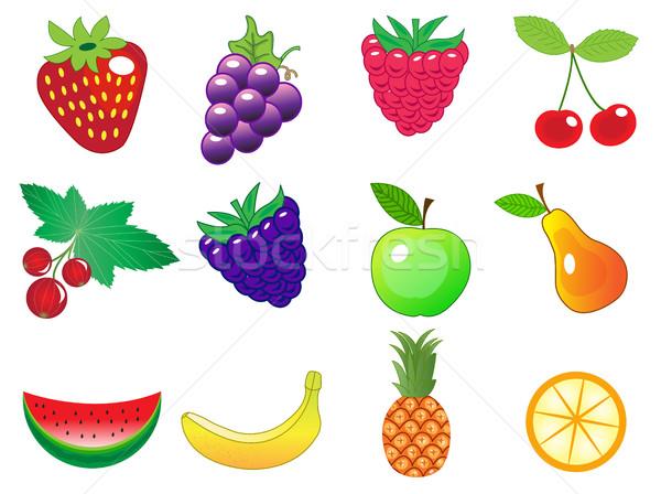 Сток-фото: Cute · Cartoon · различный · плодов · продовольствие