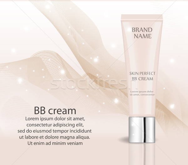 Realistic BB cream, foundation design template for cosmetics. Makeup, clean skin concept. 3d tube of Stock photo © lucia_fox