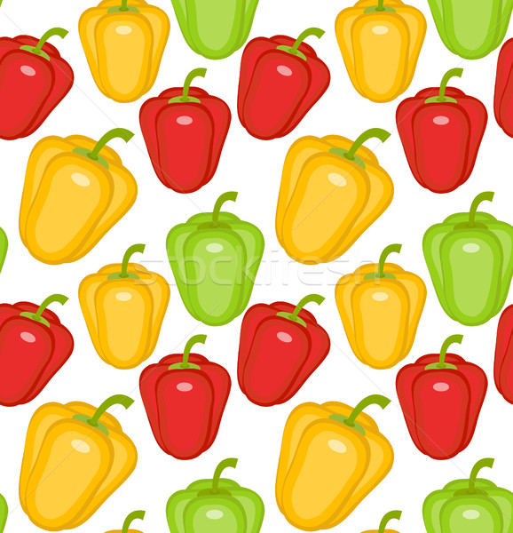 Bulgarian pepper seamless pattern. Paprika yellow, green, red, endless background, texture. Vegetabl Stock photo © lucia_fox