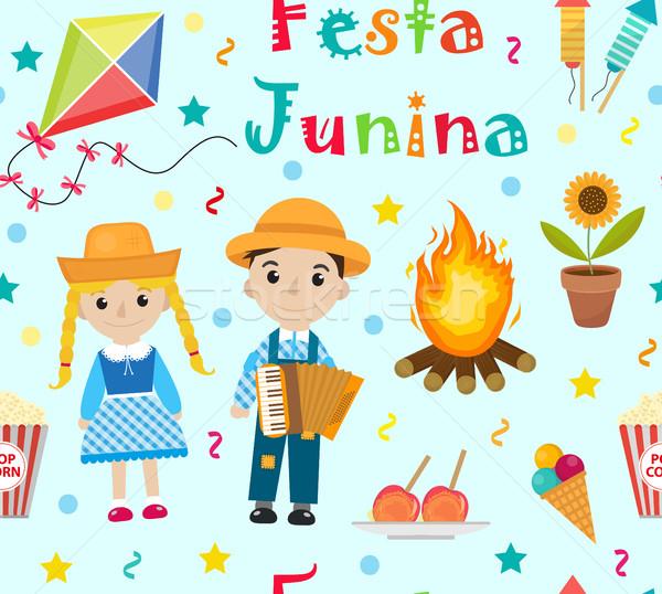 Festa Junina seamless pattern. Brazilian Latin American festival endless background. Repeating textu Stock photo © lucia_fox