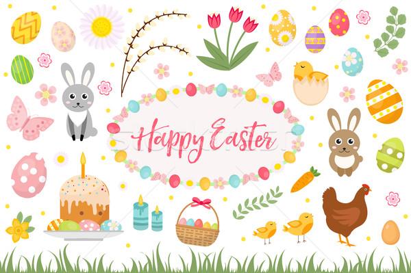 Stock fotó: Kellemes · húsvétot · gyűjtemény · tárgy · dizájn · elem · tavasz · szett