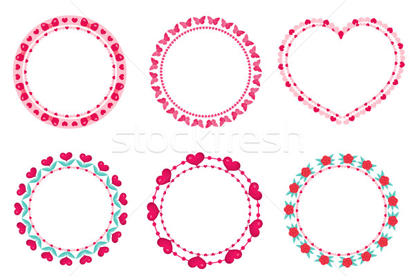 Valentines day frame set. Cute round border with space for text. Isolated on white background. Vecto Stock photo © lucia_fox