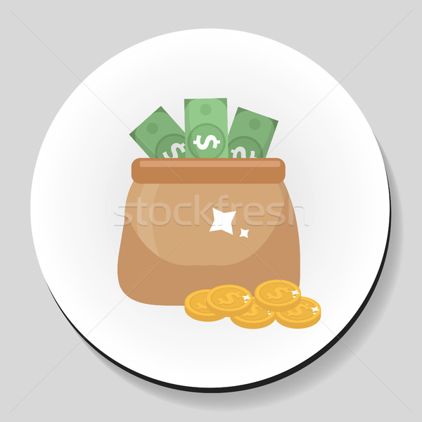 Bag of money and coins sticker icon flat style. Vector illustration. Stock photo © lucia_fox