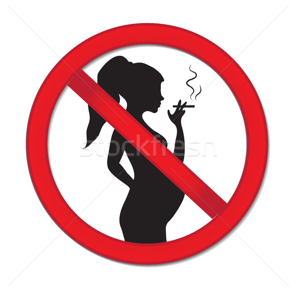 Pregnancy no smoking. Red prohibition sign-pregnant woman with a cigarette. Warning sign for no smok Stock photo © lucia_fox
