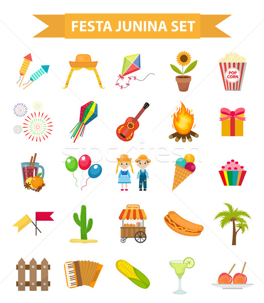 Festa Junina set icons, flat style. Brazilian Latin American festival, celebration of traditional sy Stock photo © lucia_fox
