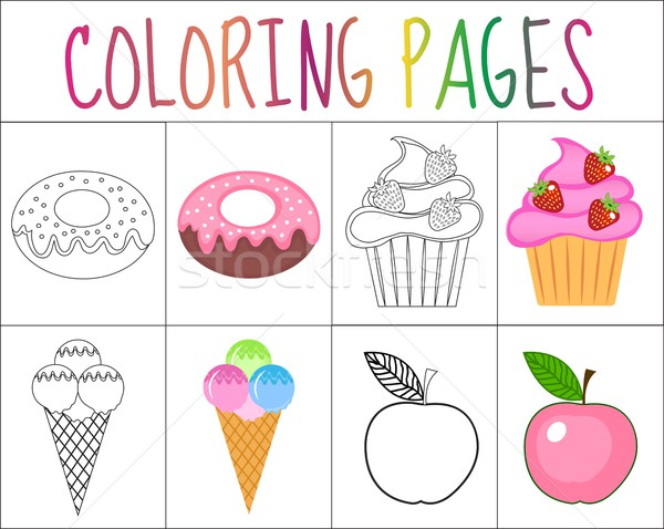 Coloring Book Page Set Sweets Collection Sketch And Color Version