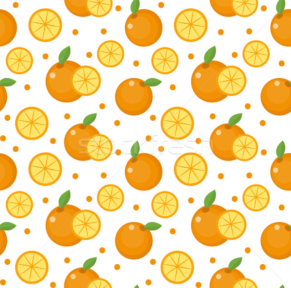 Orange seamless pattern. Mandarin citrus endless background, texture. Fruits . Vector illustration Stock photo © lucia_fox