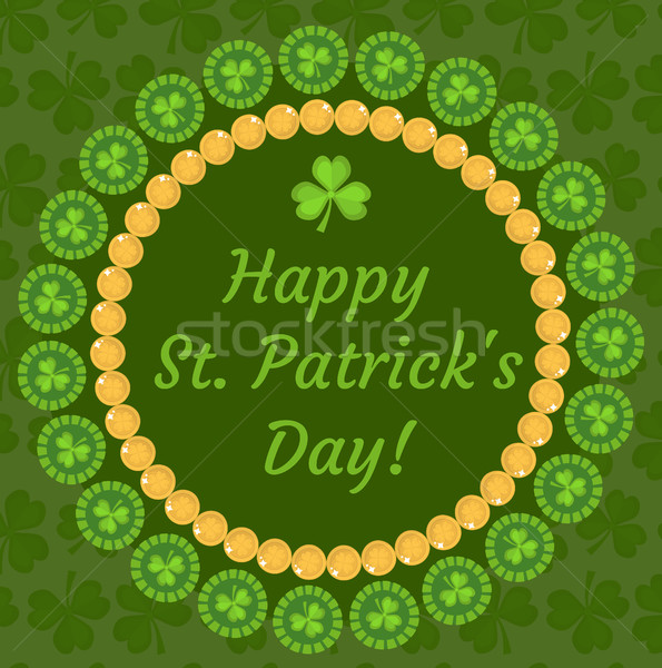 St. Patrick's Day greeting card, invitation, poster, flyer. Template for your design with clover, sh Stock photo © lucia_fox