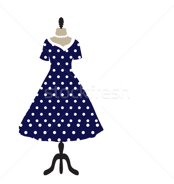 Retro dress on a hanger, dotted design, polka dots, hand drawing. Fashion, style invitation card. Ve Stock photo © lucia_fox